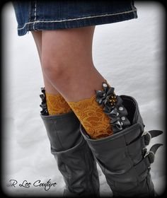 DIY these Lace Boot Cuffs with Ruffle...could so do this by gathering ribbon and adding bling to the top!
