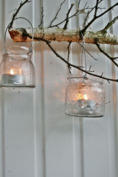 Ash, I have glass jars that kind of look like these but they are green. If you like the look, we can hang with lots of peach colored ribbon and other things to offset the green.