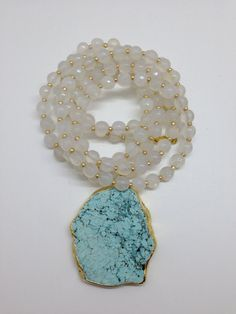 Glass Agate Beaded Necklace with Large by GoldenstrandJewelry