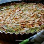 Leek, Zucchini, Spinach & Mozzarella Quiche With An Almond  Topping & Quinoa & Multigrain Crust