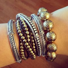 Premier Designs Arm Party Featuring: Chevron, It's A Wrap (gold), and Can't Get Enough (set of 3 stretch bangles)