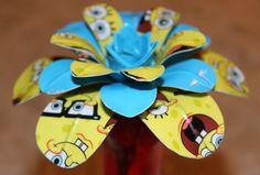 Sponge Bob Squarepants print & Electric Blue Duck Duct Tape Daisy Flower Pen Topper