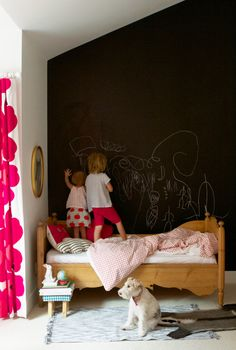 Blackboard walls at preschool have given wife's niece and nephew a false sense of reality. To them, all black walls are free game.