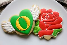 On a wing and a rose cookies, celebrating Oregon's first Rose Bowl victory in 97 years.