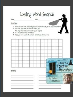 FREE: This word search template is designed for students to create their own word search using their spelling words. Students choose 12 words from their spelling list, add them to the word search grid, fill in the remaining boxes with letters, and then trade with a partner to find the words.