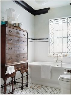 baths, antique furniture, dresser, tub, leaded glass, windows, white bathrooms, chest of drawers, antiques