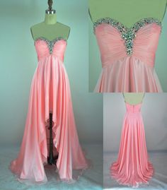 Sweetheart Pink Prom Dress with beading-Short Front Long Back-Custom Made. $153.00, via Etsy.