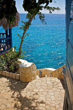 Negril, Jamaica- Oh yes- sitting on these steps, drinking a nice cool drink, before diving into that magnificently blue water....