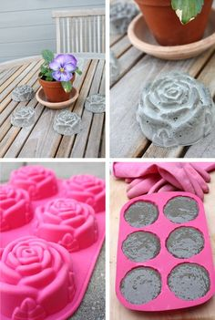 concrete roses  --- could make other shapes and paint with glow in dark paint to line a path...........