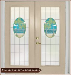 Our NEW Island Oasis Door Panels - Palm trees, ocean and beach combine to create an idyllic stained glass tropical paradise.