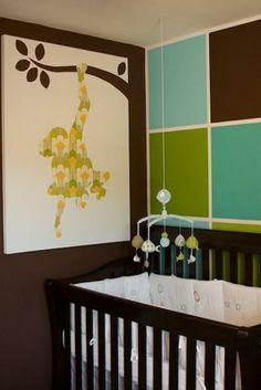 modern baby room baby-rooms LOve the monkey art on the wall. #paintedwalls #decor