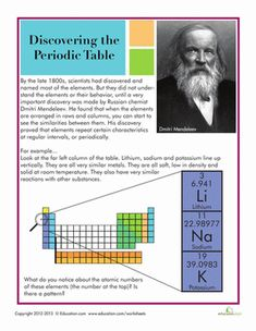 Fifth Grade Physical Science Worksheets: History of the Periodic Table Worksheet