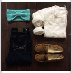 White sweater shirt, jeans, brown shoes with turquoise blue accent color