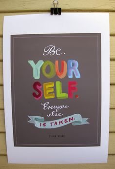 "Oscar Wilde ""Be Yourself"" Print by Emily McDowell Illustration"