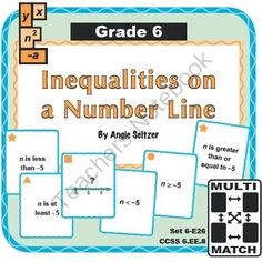 Multi-Match Game Cards 6E: Inequalities on a Number Line from K-8 MathPaths on TeachersNotebook.com -  (10 pages)  - This printable card set will help students interpret and match various representations for one-variable inequalities and learn verbal expressions.