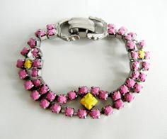 DIY neon vintage rhinestone jewelry