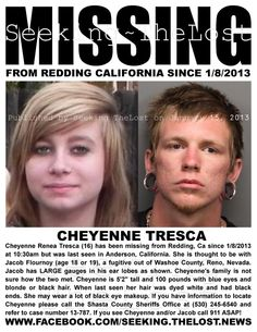 1/16/2013: Cheyenne Tresca (16) missing from Redding, California since 1/8/2013 was ▬►LOCATED SAFE on 1/16/2013