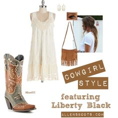 """""""Cowgirl Style"""" with the perfect cowboy boots @allensboots"""