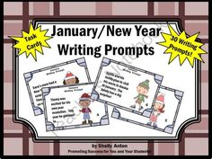 New Years Day Writing Prompts from Promoting Success on TeachersNotebook.com (12 pages)  - January: January writing will be easy with these motivating task cards! You will receive 30 cards with adorable January/winter graphics and fun writing prompts about New Year's Day, January, resolutions, aliens, holidays, an ocean cruise, hibernation