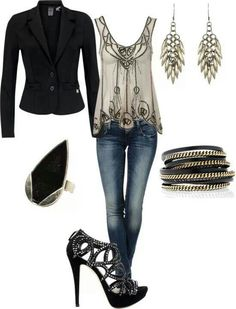 I would probably change this to black stretch skinny jeans. Love this shirt. Wish it had flutter sleeves.