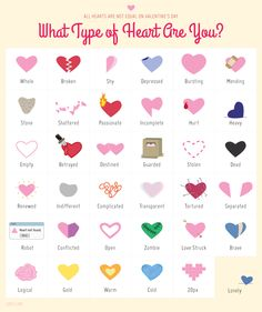 What type of heart do you have this Valentine's Day? Click on image to see full-size.  (Image via http://20px.com/)  #psychology #ValentinesDay