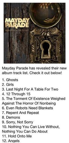 Mayday Parade - Monsters in the Closet new album track list.