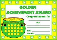 """This """"Golden Achievement Award Certificate"""" is a great way for you to recognize your students' achievements and hard work in March."""