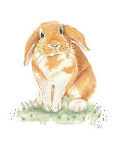 Floppy Earred Rabbit Watercolor - Bunny Art, Original Painting, Rabbit Illustration, 8x10