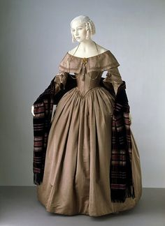 "1842 silk satin dress. Sometimes I wish I were born in a time when sloping shoulders were ""in,"" since my shoulders would be oh-so-very-fashionable. And clothes would stay on me."