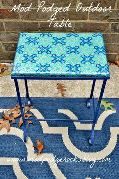 Mod Podged outdoor tabletop. - Mod Podge Rocks