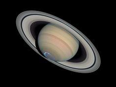 Saturn with auroras