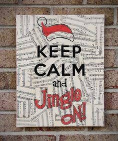 Keep Calm and Jingle On - Christmas Canvas Wall Art with Vintage Sheet Music - Holiday Decor