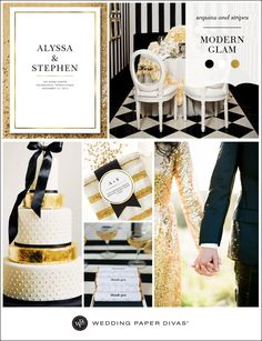 Nothing says classic luxe like a wedding color palette of black, white, and gold. We opted for gold sequins to add glamour, and simple stripes to keep it sleek and modern.