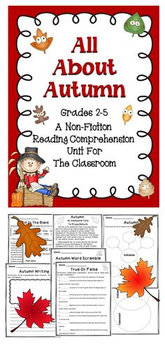 All About Autumn - A wonderful Fall collection of reading activities for the elementary classroom!  #tpt  #reading  #fall  #autumn