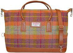 http://harristweedandknitwear.co.uk/shop_pages/images/harristweedluggage75a.jpg  // cute plaid travel weekender bag // harris tweed luggage