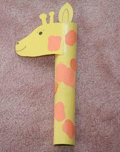 Giraffe with paper towel tube