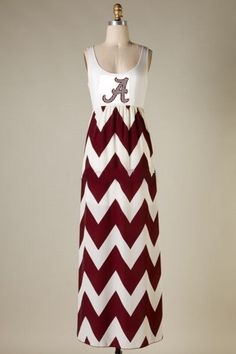 Alabama Houndstooth Crimson TIde Burgundy and White Chevron Game Day Big Al Team Apparel Long Modest Dress Monogrammed Embroidered Amy Anne