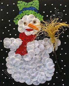 * Sneeuwpop van wattenschijfjes!