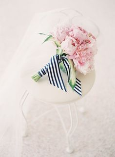 pink wedding bouquet-love the stripy ribbon