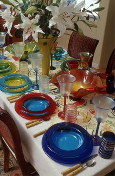 Table of Strini Artglass   I have a few of his pieces, they are beauties, love my goblets