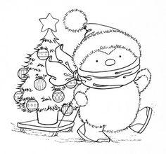 penguin christma, christma tree, christma penguin, christmas trees, digistamp
