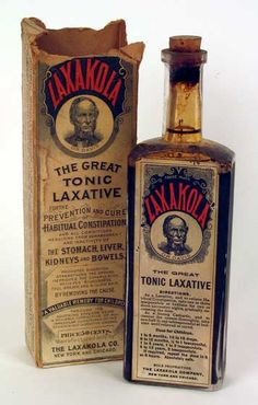 patent medidine bottle   Laxacola: The Great Tonic Laxative. Patent medicine bottle and box.
