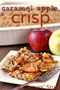 Caramel Apple Crisp recipe from Six Sisters' Stuff christma thanksgiv, appl crisp, holiday recip, food, caramels, crisp recip, warm caramel, dessert, caramel apples