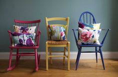 Bright colored chairs