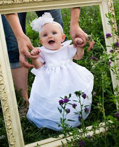 4 month old in her  Christening Dress