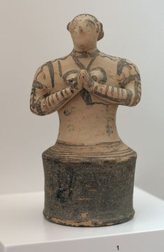 Figurine of a worshiper or a priestess from Myrsine, Crete, en face