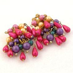 Vintage 1960s Earrings Drop Cluster Magenta Purple Clip by Revvie1, $12.00