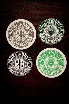 Social Club Coasters and Stickers stickers, circl hook, club coaster, iron