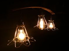 Rustic Industrial Pendant Lights / Cage Lights / Trouble Lights Upcycled / Machine Age via Etsy
