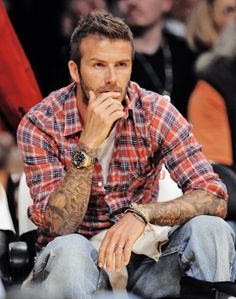 denim jeans, casual styles, soccer girl, style icons, david beckham, plaid shirts, dream guy, men, tattoo